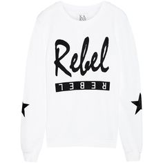 Zoe Karssen Rebel cotton-blend terry sweatshirt ($70) ❤ liked on Polyvore featuring tops, hoodies, sweatshirts, sweaters, sweatshirt, shirts, white, loose tops, white shirts and white tops