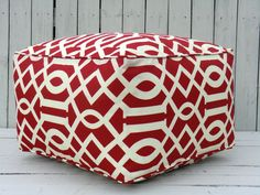 "Red square pouf ottoman, red outdoor ottoman 20x20x14"", imperial trellis pouf, red bean bag chair, outdoor floor cushion"