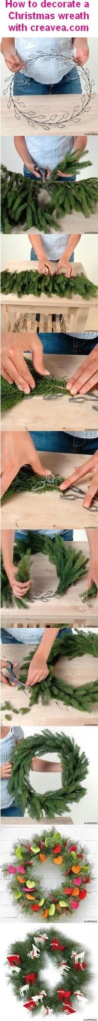 How to make a Christmas wreath ! Easy DIY with a metallic base.