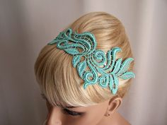 Mint green lace headband in a beautiful leaf design. I made the lace for this headband and attached it to a thin silver metal headband. It has rubber tips for comfort.