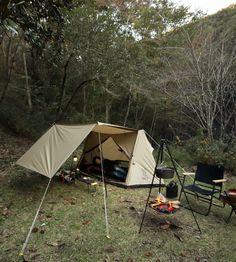 広いタープスペースと燃えにくいポリコットン生地。懐かしいけど新しい、パップ風テント。 DOPPELGANGER OUTDOOR (ドッペルギャンガーアウトドア) 略してDOD。 #キャンプ #アウトドア #テント #タープ #チェア #テーブル #ランタン #寝袋 #グランピング #DIY #BBQ #DOD #ドッペルギャンガー #camp #outdoor
