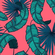 Bright pink, teal, and blue palm leaves pattern - ready for the beach! Design Textile, Textile Patterns, Textile Prints, Cool Patterns, Print Patterns, Leaf Patterns, Pattern Design, Print Design, Graphic Design