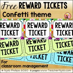Free Confetti Themed Reward Tickets for Classroom Management Classroom Rewards, Classroom Themes, Classroom Management, Fourth Grade, Second Grade, Sixth Grade, Free Teaching Resources, Teaching Ideas, Printable Tickets