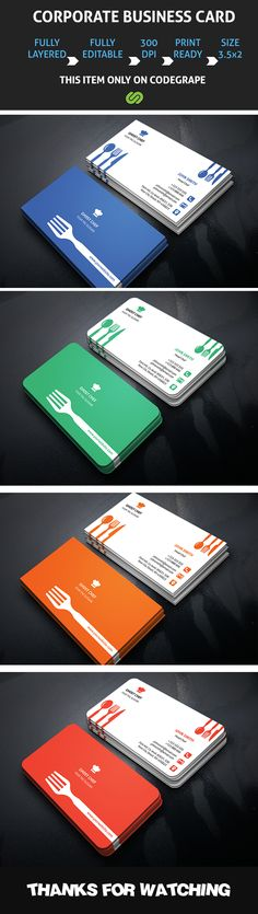 This is a Chef Business Card.This template download contains 4 color variation, which is 300 dpi print-ready CMYK 8 PSD files. All main elements are easily editable and customizable.