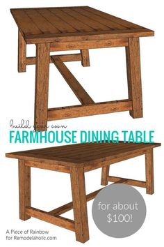 Build your own DIY farmhouse dining table for $100! This easy but stylish trestle base farmhouse table uses affordable 2x4, 4x4, and 2x6 lumber, and all you'll need is a miter saw and a pocket hole jig to build it. #remodelaholic #woodworkingplans #beginnerwoodworking #farmhousetable #farmhousefurniture #diyfarmhousefurniture Farmhouse Table Plans, Farmhouse Dining Room Table, Farmhouse Furniture, Dining Table, Dining Rooms, Diy Furniture Projects, Handmade Furniture, Diy Wood Projects, Home Furniture
