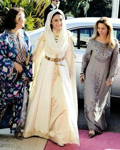 Princess Rym al-Ali, with her mother and sister-in-law Princess Haya, on her wedding day to Prince Ali bin Al Hussein of Jordan, September 7, 2004. The Princess wears a wedding dress typical for Circassian brides. The Circassians found refuge in Jordan after the Russians murdered thousands of them and expelled the surviving from their homeland in the 1860s. The Jordanian court is also guarded by Circassians.