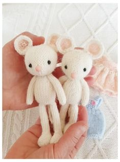 Cute Little Mice boy and girl. Knitting pattern by ElvesWorld. Animal Knitting Patterns, Stuffed Animal Patterns, Baby Patterns, Knitted Toys Patterns, Felt Doll Patterns, Amigurumi Patterns, Sewing Toys, Sewing Crafts, Knitted Dolls