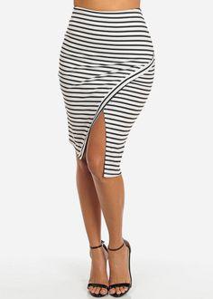 Asymmetrical High Waisted Midi Skirt