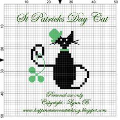 Happiness is Cross Stitching : St Patrick's Day Cat Cross Stitch Pattern