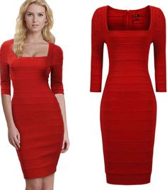 2d9b3b7c803a Amazon.com  Unomatch Women Fit Bodycon Hot Square Neck Dress Red  Clothing  Women s