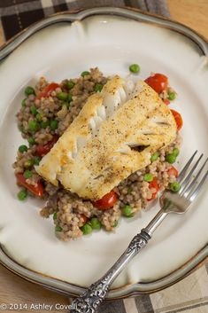 Pan-Fried Cod Over Garlicky Tomato and Pea Buckwheat Groats Recipe Big Flavors From A Tiny Kitchen Recipes With Fish And Shrimp, Fish And Seafood, Fish Recipes, Seafood Recipes, Whole Food Recipes, Healthy Recipes, Kitchen Recipes, Cooking Recipes