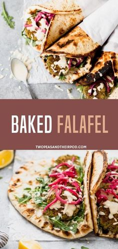Falafel a popular Middle Eastern food is easy to make at home and is so good served in fresh pita bread with pickled red onions and tahini sauce! You are going to love this healthy and easy oven-baked Falafel Recipe! Vegetarian Wraps, Vegetarian Recipes Easy, Good Healthy Recipes, Healthy Food, Healthy Wraps, Vegetarian Dinners, Healthy Eating, Falafel Wrap, Falafel Pita