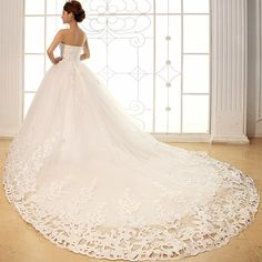 hollow lace training wedding dress tube sequin 1.2 meters formal dress backless