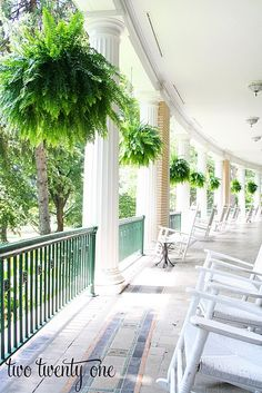 Check out these 20 Summer Front Porches for amazing inspiration! Enjoy summer living all season long with these beautiful summer front porches. Southern Porches, Southern Living, Country Porches, Simply Southern, Southern Charm, West Baden Springs Hotel, Outdoor Spaces, Outdoor Living, Hanging Ferns