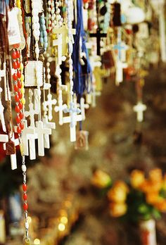 I'm working on having a rosary collection...  In sante fe, you will see grottos of rosaries by the road.  Beautiful