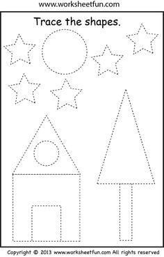 Free printable shapes worksheets for toddlers and preschoolers. Preschool shapes activities such as find and color, tracing shapes and shapes coloring pages. Shape Worksheets For Preschool, Shape Tracing Worksheets, Tracing Shapes, Preschool Writing, Free Printable Worksheets, Free Preschool, Preschool Learning, Kindergarten Worksheets, Preschool Activities