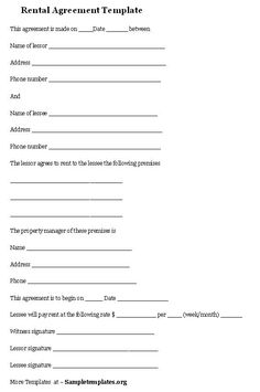 Rental Agreement Template #rental #agreement #template  Printable Rental Agreement Template