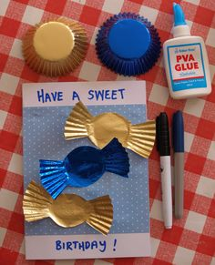 Cupcake Liner Cards - an easy kids craft to make a homemade birthday card with a candy theme.