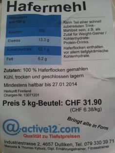Hafermehl jetzt auch im 5 kg Sack für Grossverbraucher, z.B. als Zutat zu einem Shake für das schnelle gesunde Frühstück! Auch im 1.5 kg- und 3 kg-Beutel erhältlich.
