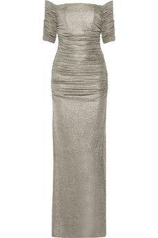 Badgley Mischka Metallic stretch-jersey gown   THE OUTNET