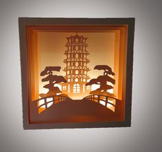 Oriental Themed Box card by MySVGHUT on Etsy Building Silhouette, Oriental, Chandelier, Ceiling Lights, Digital, Unique Jewelry, Handmade Gifts, Frame, Cards
