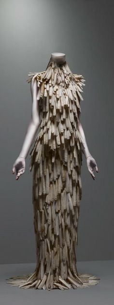 Razor-clam shells stripped & varnished; ensemble from the Spring/Summer 2001 Voss Collection by English fashion designer Alexander McQueen (1969-2010). via the coincidental dandy