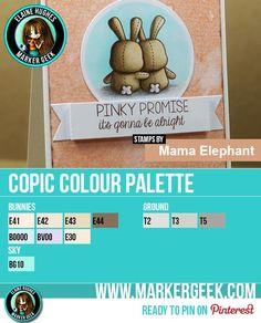 Mama Elephant - Honey Bunny Copic Marker Palette - www.markergeek.com  #mamaelephant #copics