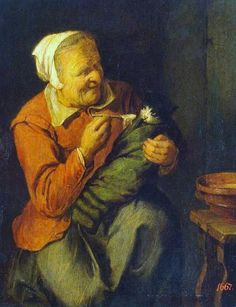 David Ryckaert III the Younger (1612-1661) Peasant Woman with a Cat 1640-42