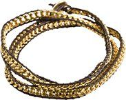 """ZAD GOLD CHAIN BROWN LEATHER 30"""" WRAP"""