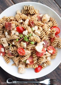 Pesto Chicken BLT Pasta Salad from Sweet Treats and More