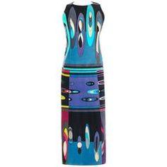 EMILIO PUCCI c.1960's Multicolor Op Art Bubble Signature Print Velvet Maxi Dress