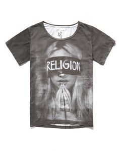 Religion T Shirt with Blindfold Print