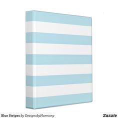 Blue Stripes 3 Ring Binder