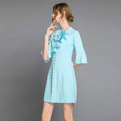 Summer Pale Blue Dress New Fashion Half Flare Sleeve Mini Dress For Women