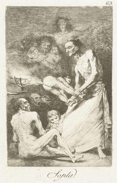 Francisco José de Goya y Lucientes | Blaas, Francisco José de Goya y Lucientes, 1797 - 1799 | Een oude man met een kind, vastgehouden aan armen en benen. Uit het achterwerk van het kind blaast lucht. Op de grond een aantal figuren, in de lucht twee duivels met twee baby's. Negenenzestigste prent uit de serie Los Caprichos.