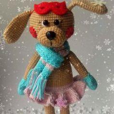 Амигуруми собачка на коньках - схема вязаной игрушки крючком