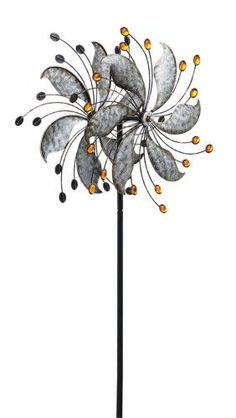 Evergreen Metal Reflective Leaves Kinetic Garden Stake, 64 inches tall, Multi