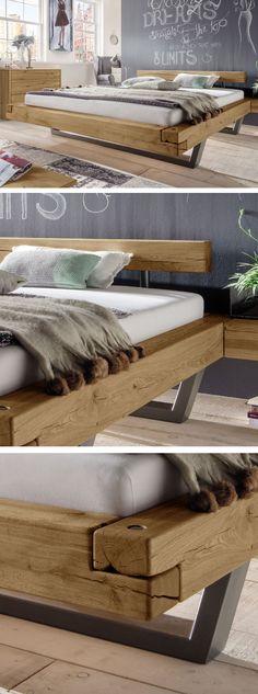 Hochwertiges Balkenbett im angesagten Industrial-Style! Natürliche Risse & Astlöcher für besonderen Charme. #bett #industrial #schlafzimmer #massivholz #natur | Betten.de http://www.betten.de/schwebebett-massive-vollholz-balken-aus-wildeiche-darica.html