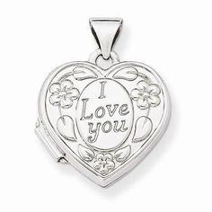 """NEW 14K WHITE GOLD HEART SHAPED I LOVE YOU FLORAL LOCKET .82"""" PENDANT OR CHARM #Locket"""