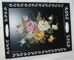 Vintage Black Hand Painted Tole Tray