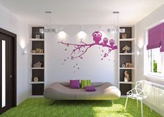 Bedroom: Creative And Charming Girl Bedrooms Design Ideas, Fancy Girl Bedroom with White Wardrobe Closet Cupboard with Pink Owl Sticker and Gray Sofa Bed and Green Rug and White Chair
