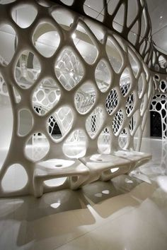 The Romanticism Shop in Hangzhou, China by SAKO Architects, futuristic interior design, future building, futuristic buildingKelly: I don't love this per se but I do like how the architecture becomes the seating Architecture Design, Parametric Architecture, Parametric Design, Organic Architecture, Amazing Architecture, Futuristisches Design, 3d Interior Design, Exterior Design, Interior And Exterior