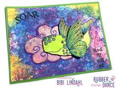 * Rubber Dance Blog *: Rainbow style greeting card with Distress Oxide inks and Rubber Dance Stamps