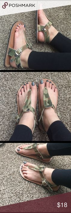 Handmade Leather Sandals Handmade Leather Camo Sandals in very good condition! 🇲🇽I buy they in Acapulco Mexico🇲🇽.                                        (Size 5 in Mexico/ size 7 in USA) Shoes Sandals