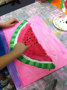 mollie's mom watermelon art camp for kids (food art lessons) Summer Art Projects, Summer Crafts, Projects For Kids, Crafts For Kids, Art Lessons For Kids, Art Lessons Elementary, Art For Kids, Kindergarten Art, Preschool Art