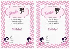 Barbie Printable Birthday Invitations Click image below to enlarge and print Barbie Theme Party, Barbie Birthday Party, Birthday Bash, Birthday Parties, Barbie Birthday Invitations, Free Printable Party Invitations, Invitation Ideas, Free Barbie, Party Ideas