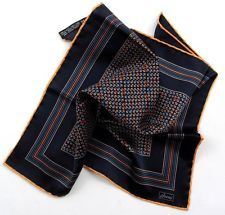 Available now for $34.99  is this New BRIONI Italy Blue Orange Geometric Silk Pocket Square Handkerchief $150!
