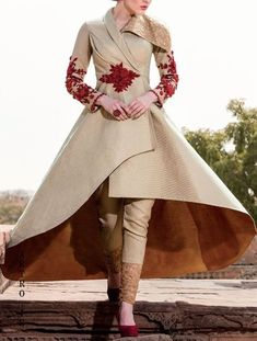 Buy Samyakk Golden Silk Embroidered Salwar Suit online in India at best price. Stylish Dresses, Nice Dresses, Fashion Dresses, Pakistani Fashion Party Wear, Indian Fashion, Indian Gowns Dresses, Indian Outfits, Couture Fashion, Girl Fashion