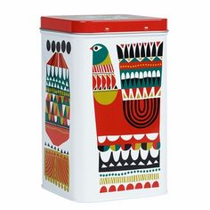 Marimekko Kukkuluuruu Large White/Green/Red Tin Conceal unwanted clutter with the Marimekko Kukkuluuruu Tin. From knick knacks at the office, to snacks in the kitchen and even toiletries in the bathroom, any space can benefit from a tin storage syst. Marimekko, Box Design, House Design, Vintage Tins, Retro Vintage, Tin Boxes, Nordic Design, Large White, Scandinavian Style