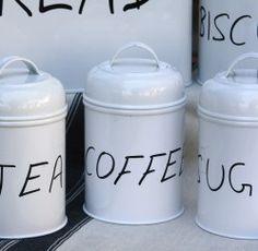 Set of 3 White Enamel Canisters (Tea, Sugar, Coffee) – high each White Enamel, Canisters, Decorative Accessories, Sugar, Tea, Coffee, Bathroom, Kitchen, Home Decor